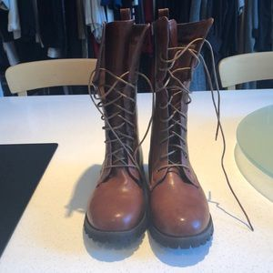 Shoes - Brown Leather Combat Boots
